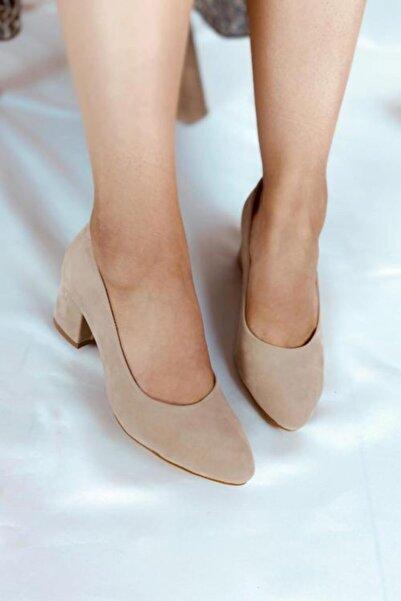 LA PANTE Kadın Bej Süet Topuklu Ayakkabı