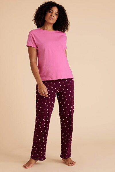 Marks & Spencer Kadın Mor Puantiye Desenli Pijama Takımı T37004416F