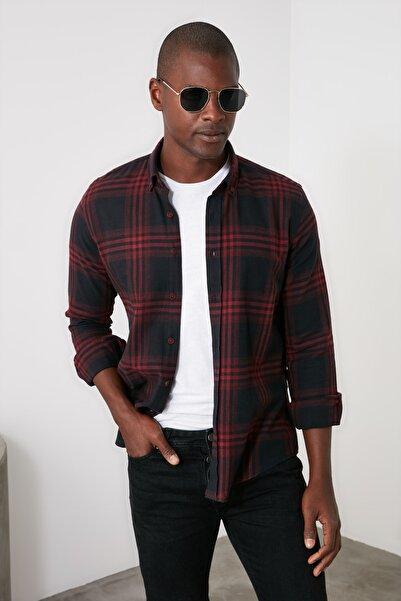 TRENDYOL MAN Siyah Erkek Ekose Slim Fit Gömlek Yaka  Gömlek TMNAW21GO0932