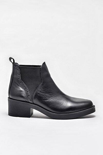 Elle Shoes BLEANN Hakiki Deri Siyah Kadın Bot