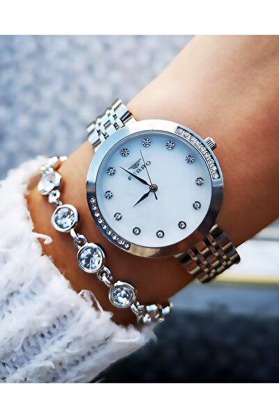 FERRO Yeni Sezon Orijinal Çelik Bayan Saati + Bileklik