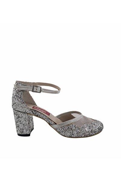 Gess Lame Gümüş Kalın Topuk Payetli Abiye Ayakkabı