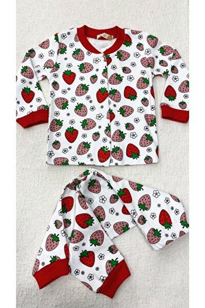 Melisa Çocuk Pijaması %100 Pamuk Önden Çıtçıtlı Çilek Desenli