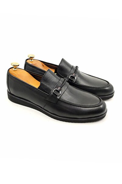 DeepSEA Erkek Siyah Paolo Massi Demir Tokalı Deri Ayakkabı 2001796