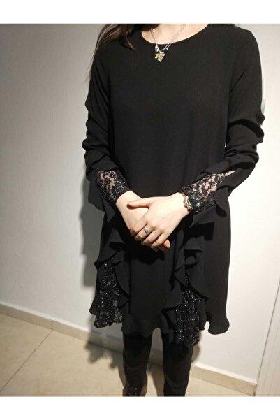 SEÇİL Kadın Siyah Fırfırlı Simli Tunik 4696