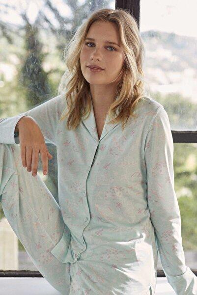Eros Pijama Kadın Mint Yeşili Gömlek Pijama Takımı