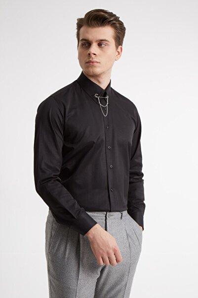 Fc Plus Erkek Siyah Yaka Filketeli Zincirli Pamuk Gömlek - Slım Fıt