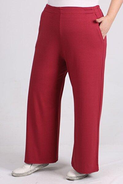 eslamood 9012 Büyük Beden Beli Lastikli Penye Pantolon -koyu Gül