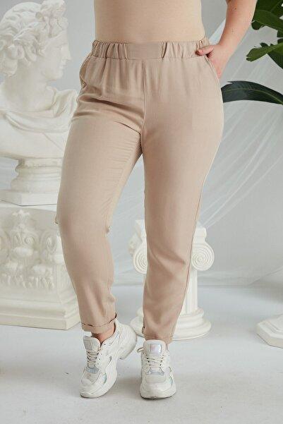 RMG Krem Beli Lastikli Tensel Pantolon