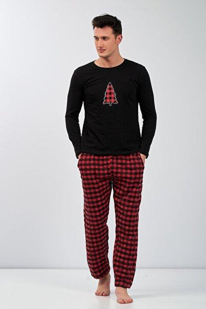 Moda Clubu Erkek Kırmızı Siyah Ekoseli Yeni Yıl Pijama Takımı