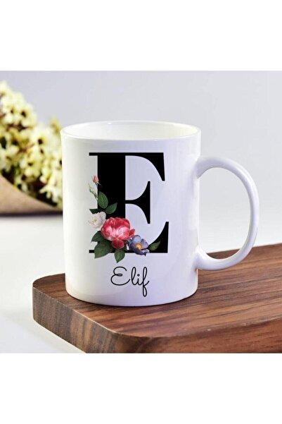 eKUPAM Elif Isimli E Baş Harf Kupa Bardak - 0185