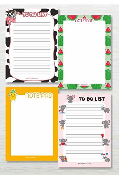Aşktan Basım Hizmetleri Aşktan Basım 4lü Note Pad To Do List Bloknot 10x14 cm