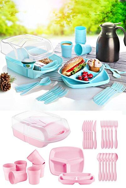 Kitchen Store 32 Parça Piknik Seti - Içiçe Geçebilen Çatal+kaşık+bıçaklı Pasta Seti