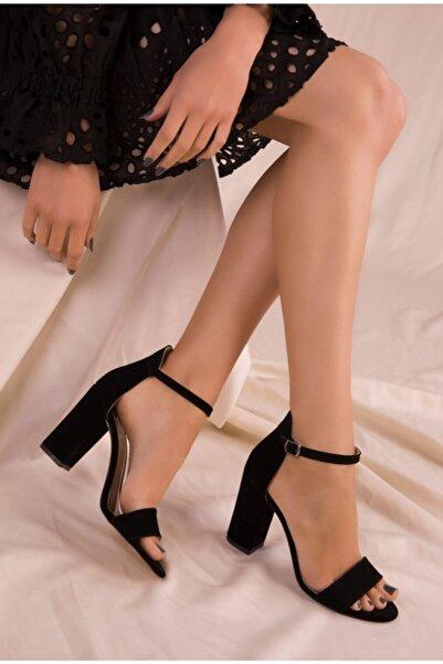 MELİKMERT Siyah Süet Tek Bantlı Kadın Klasik Topuklu Ayakkabı