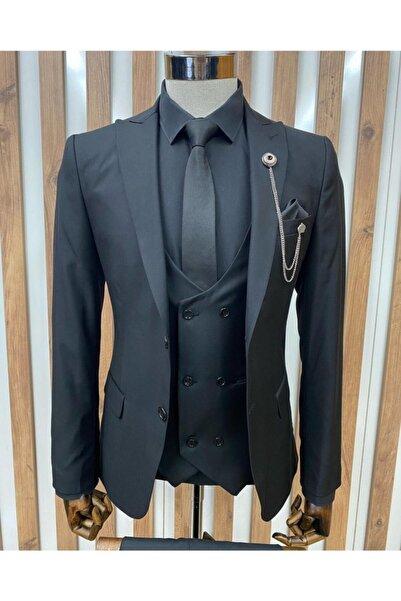 MONTO BENE Düz Siyah Yelekli Takım Elbise