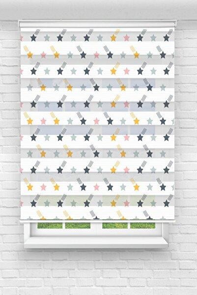 Güneş Halı ve Perde Renkli Yıldızlar Baskılı Perde - Çocuk Odası Perdesi - Stor Zebra Perde