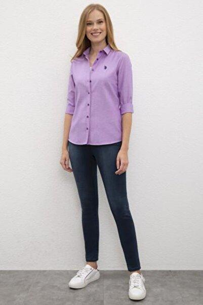 U.S. Polo Assn. Kadın Mor Uzun Kollu Gömlek