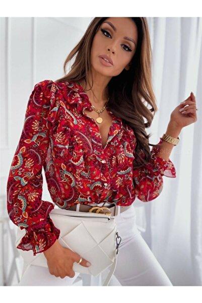 JANES Kadın Kırmızı Şal Desen Şifon Gömlek 60/50cm