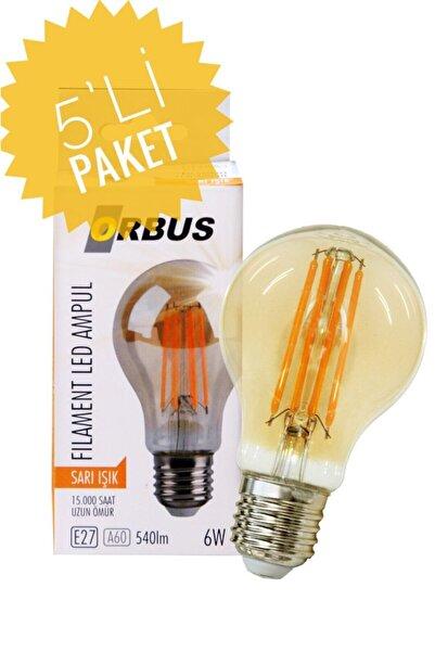 ORBUS Dekoratif Ampul A60 E27 Amber Sarı Işık 5 Adet