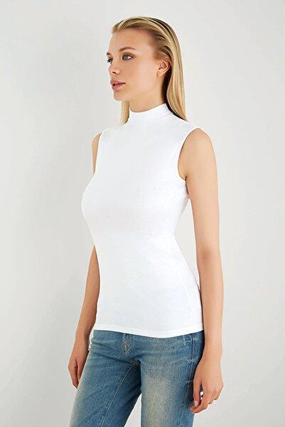 Sevim Kadın Beyaz Cotton Balıkçı Yaka Bluz