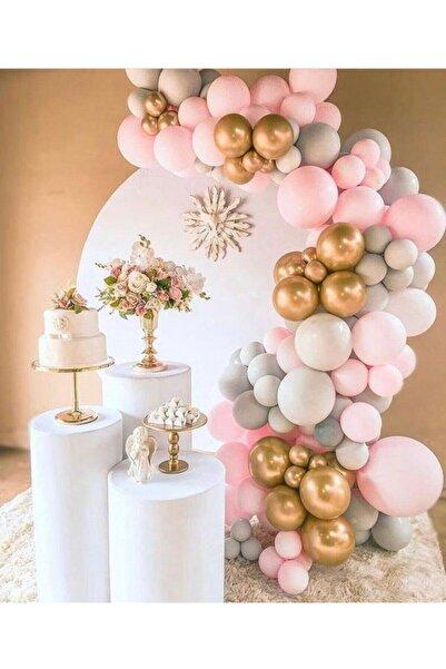 canbayhobi Karışık Gold Krom Makarom Pembe Pastel Gri Renklerinde Balon Balon Zincir