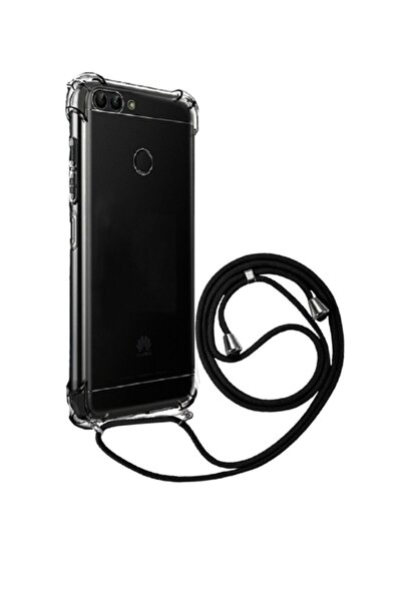 Molly Huawei P Smart 2018 Uyumlu Siyah Boyun Askılı Ipli Şeffaf Silikon Kılıf