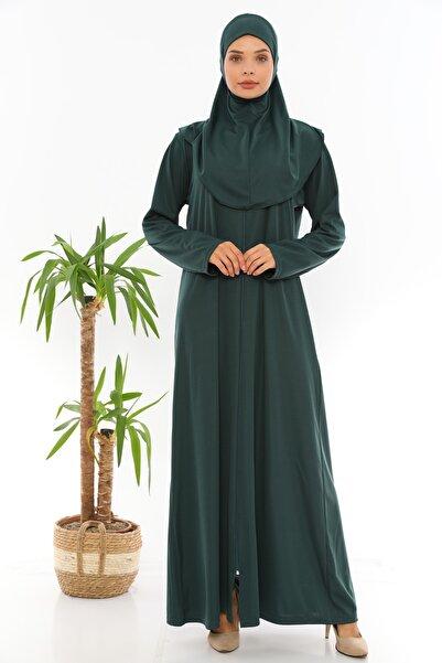 miss ledonna Zümrüt Yeşili Fermuarlı Tek Parça Namaz Elbisesi