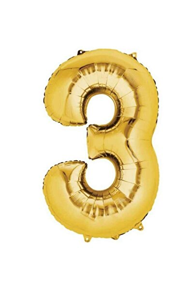 RADE SHOPPİNG 3 Rakam Folyo Balon Gold Renk