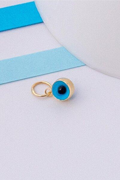 Bayar Gold 14 Ayar Altın Mini Mavi Göz Boncuk Kolye Ucu
