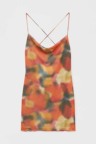 Pull & Bear Desenli Kısa Tül Elbise