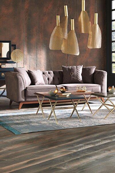 Enza Home Elegante 3'lü Koltuk (KAHVERENGİ - DERİ DESENLİ KUMAŞ)