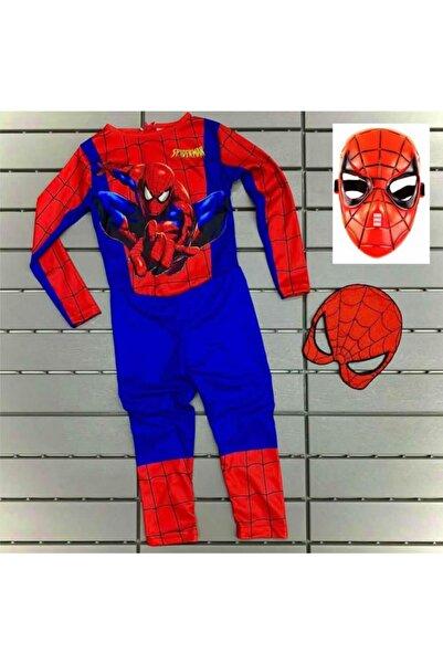 SPIDERMAN Örümcek Adam Baskılı Çocuk Kostümü Maskeli Spiderman Kostümü 2 Maskeli