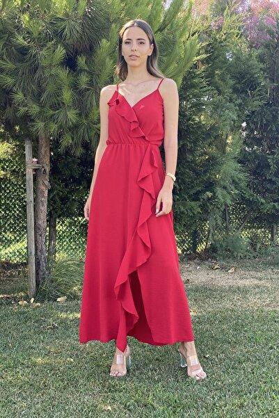 CurcunaShop Önü Fırfırlı Ip Askılı Uzun Elbise