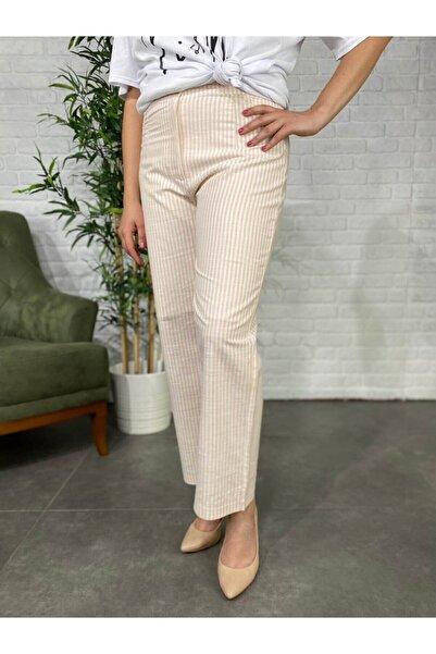Roxxlen Kadın Beyaz Pembe Çizgili Geniş Paça Büyük Beden Pantolon - 3896