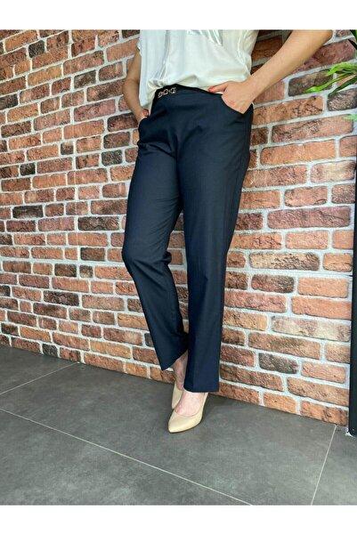 Roxxlen Kadın Lacivert Büyük Beden Pantolon - 3986