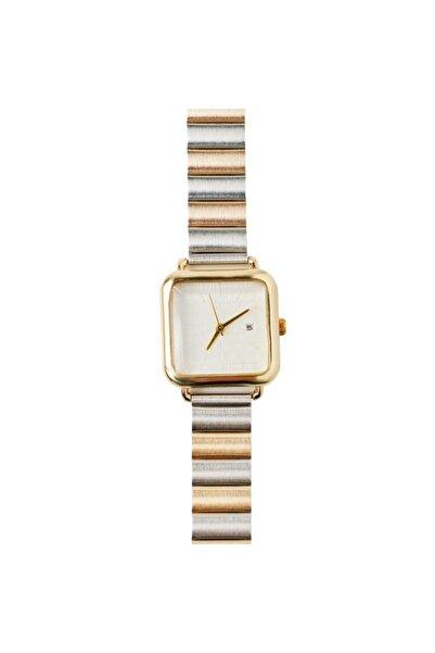 OQQO Medium Full Beyaz Kadran Altın / Gümüş Kadın Kol Saati