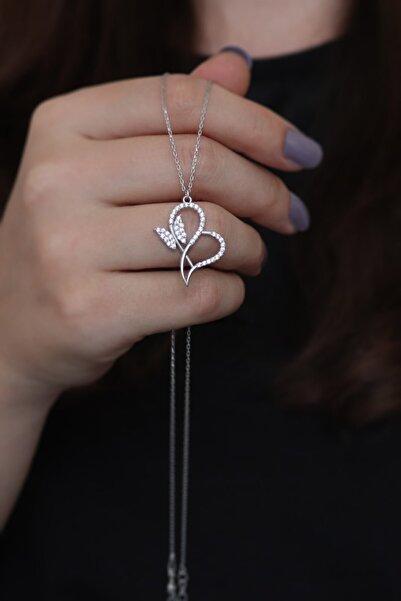 Parmas Design Kalp Ve Kelebek Tasarım Kadın Gümüş Kolye