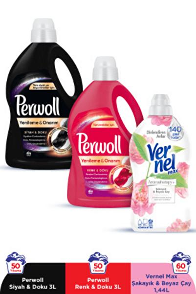 Perwoll Hassas Bakım Sıvı Çamaşır Deterjanı 2 x3L(100 Yıkama)Siyah+Renkli+Vernel Max 1440ml(60Yıkama)Şakayık