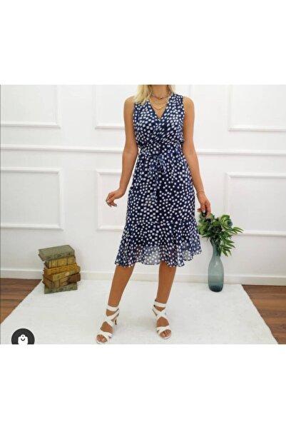 Sea Style Şifon Astarlı Kolsuz V Yaka Elbise