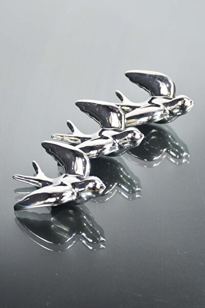 SepetçiBaba 4'lü Seramik Kuş Dolap Magneti Gümüş