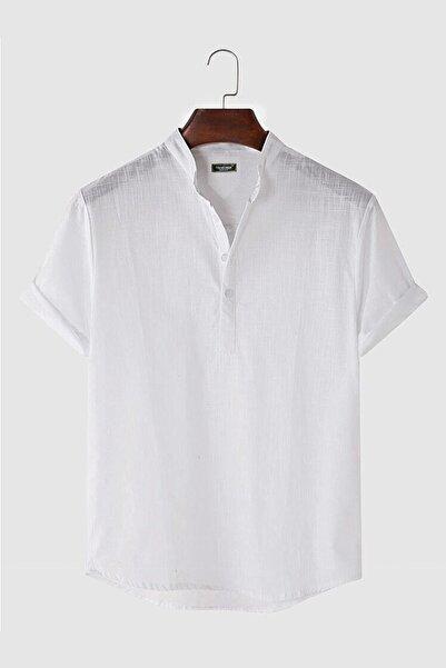 VEAVEN Erkek Beyaz Hakim Yaka Kısa Kollu Yarım Patlı Keten Gömlek