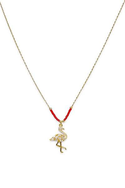 Esmer Bijuteri Altın Kaplama Zirkon Taşlı Kırmızı Flamingo Kolye