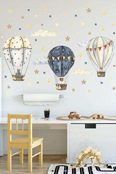 Sticker Ekspres Ayıcıklı Uçan Balonlar Uçan Balon Çocuk Odası Duvar Sticker Seti