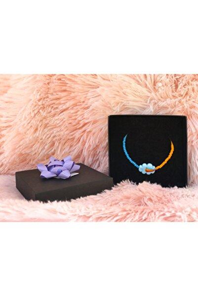 Lotus Mavi Bulut Renkli Kolye