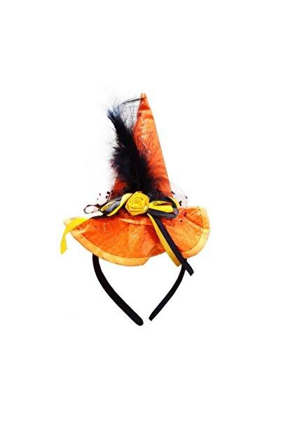 partidolu Turuncu Renk Cadı Şapkası Şeklinde Tüylü Halloween Tacı