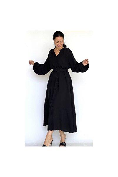 Looklish Siyah Uzun Kol Kemerli Elbise