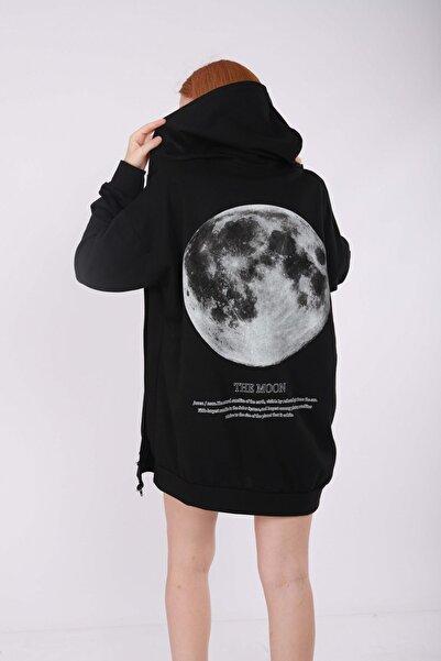 NOFILTER Siyah Moon Sırt Baskı Oversize Hırka
