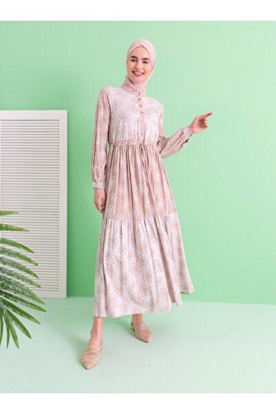Loreen Çiçek Desenli Elbise - Bej -