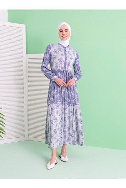 Loreen Çiçek Desenli Elbise - Indigo -