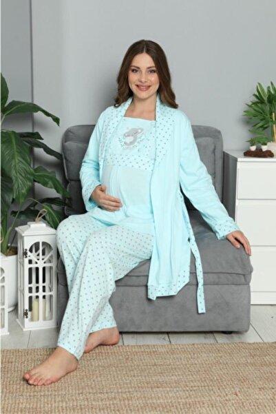 POKY BEBE Kadın Turkuaz Desenli Sabahlıklı Hamile Pijama Takımı 3'lü